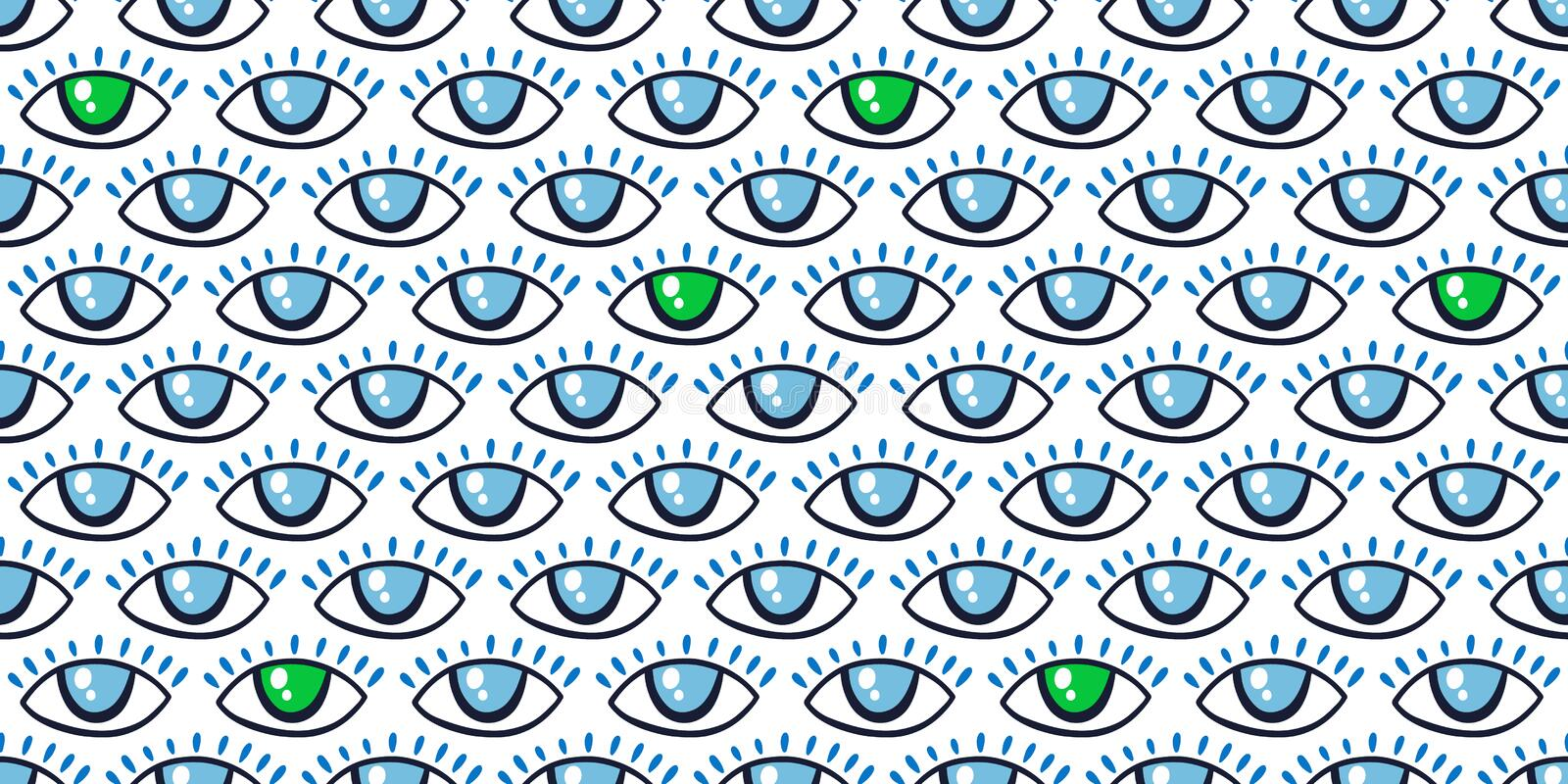Seamless pattern with eyes magical pattern. Mystical icon hand drawn print. Cartoon style, sign esoteric, inspiration eye. Vector illustration royalty free stock images