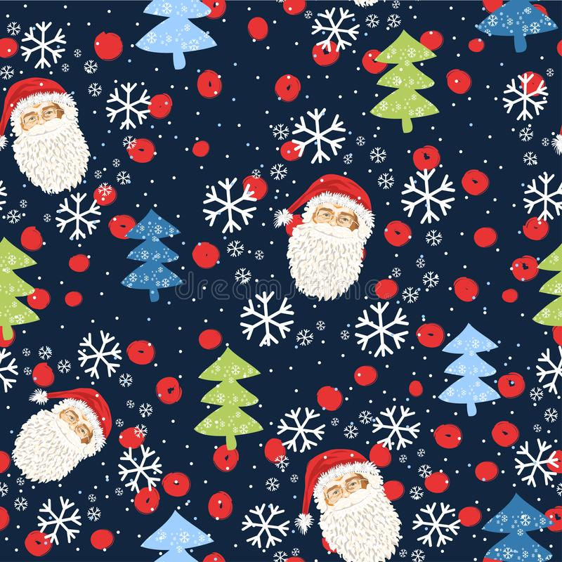 Seamless pattern with the face of Santa Claus and Christmas trees and snow - Vector royalty free illustration