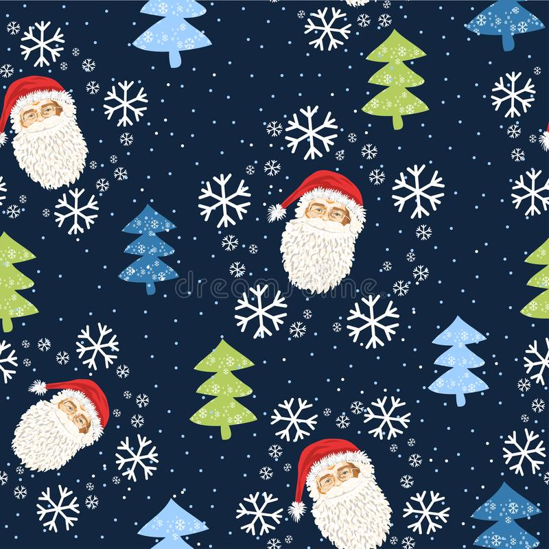 Seamless pattern with the face of Santa Claus and Christmas trees and snow - Vector vector illustration