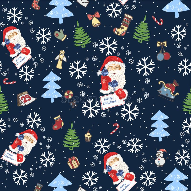 Seamless pattern with the face of Santa Claus and Christmas trees, snow and vintage Christmas tree toys - Vector stock illustration