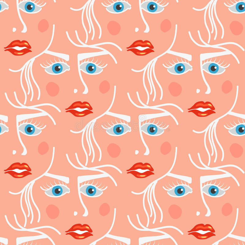 Seamless pattern with face of woman. stock illustration