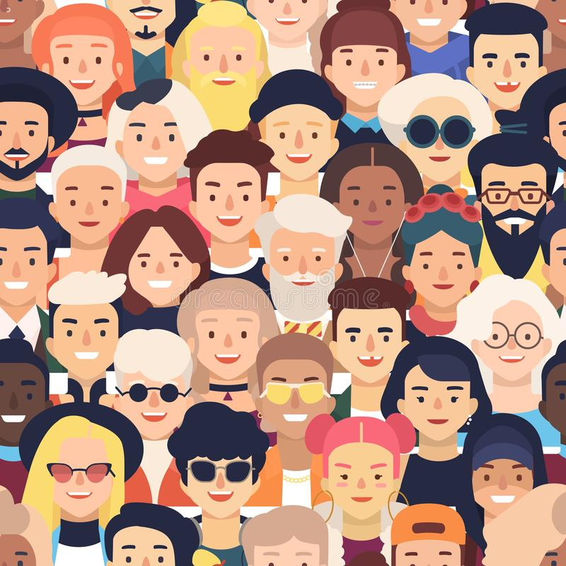 Seamless pattern with faces or heads of joyful people. Backdrop with crowd of old and young men and women. Colorful stock illustration