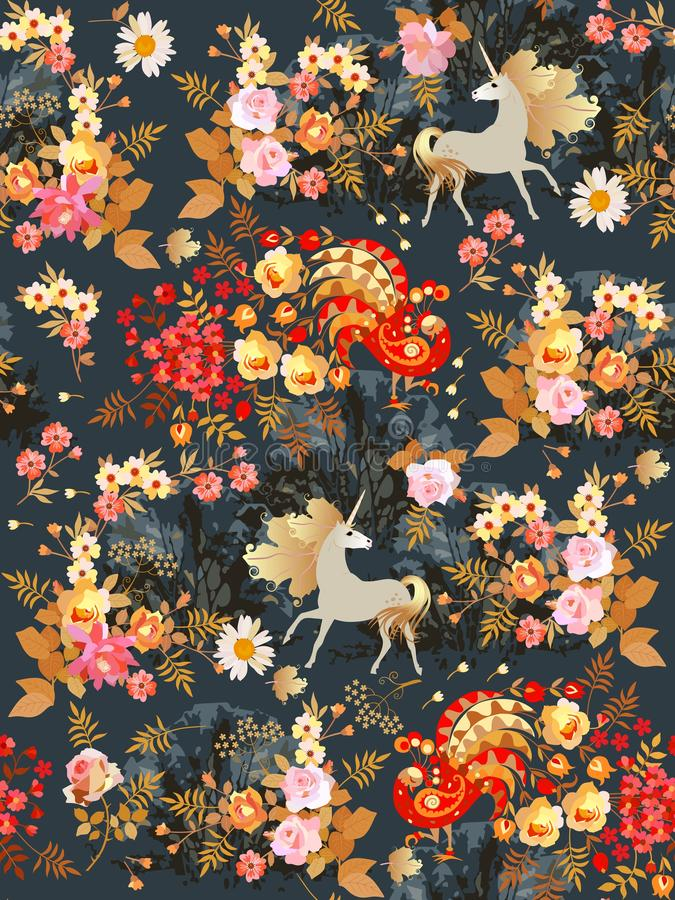 Seamless pattern with fairy unicorns and fabulous birds in the blooming garden at night. Print for fabric, wallpaper.  royalty free illustration
