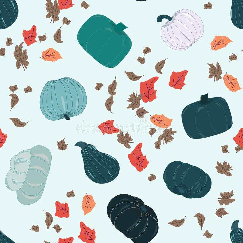 Seamless pattern with fall harvest blue pumpkins and autumn leaves. Seamless pattern with fall harvest blue green pumpkins and autumn leaves. Unique and stock illustration