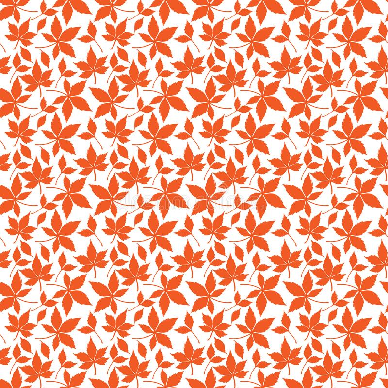 Seamless pattern with fall leaves in orange. Olor vector illustration