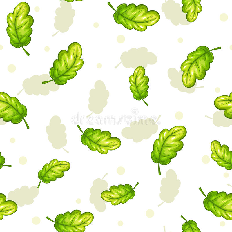Seamless pattern with falling green oak leaves. Seamless pattern with falling green oak leaves on white background. Vector autumn herbal texture royalty free illustration