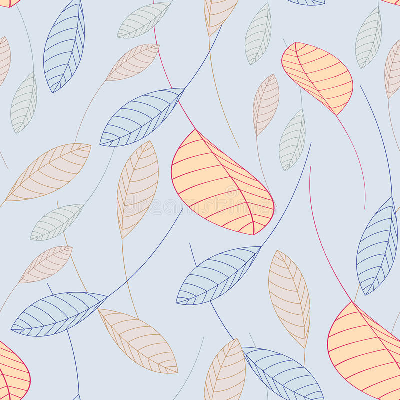 Seamless pattern falling leaves on a blue background. Repeating seamless pattern falling leaves on a blue background vector illustration