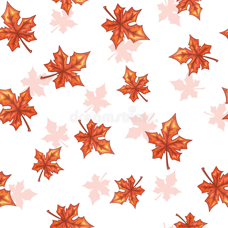 Seamless pattern with falling maple red leaves. Seamless pattern with falling maple red leaves on white background. Vector autumn herbal texture royalty free illustration