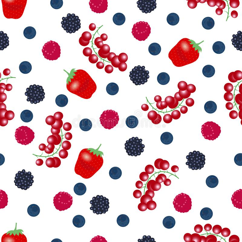 Seamless pattern from falling ripe berries royalty free illustration