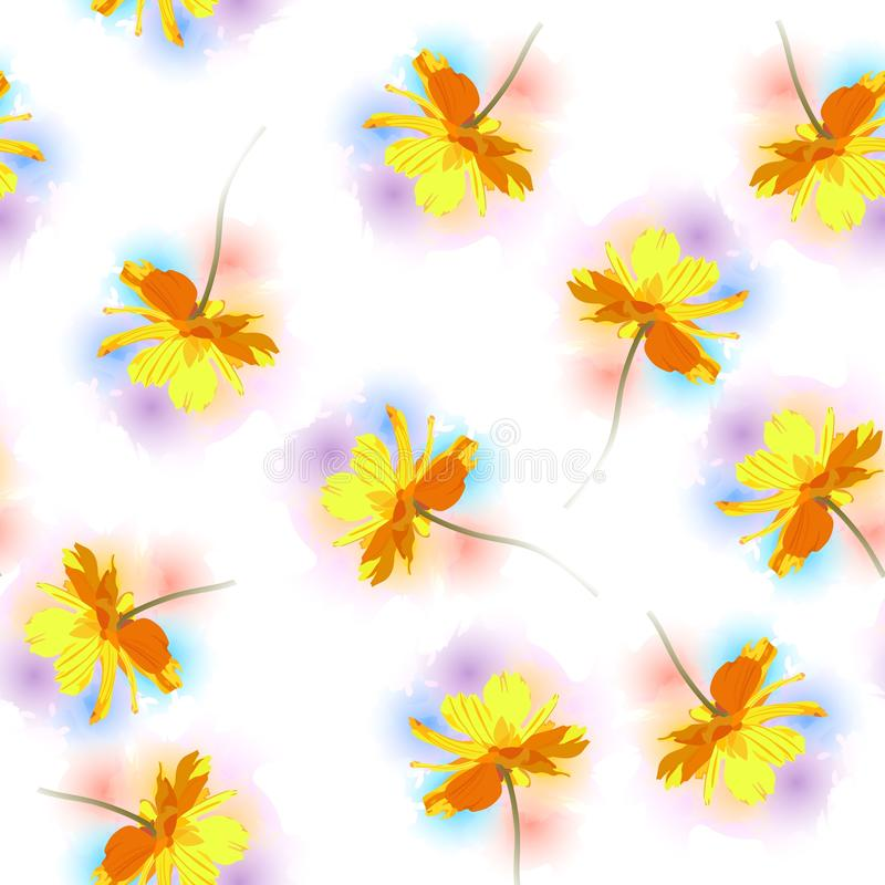 Seamless pattern with falling yellow cosmos flowers against colorful watercolor spots on white background.  vector illustration