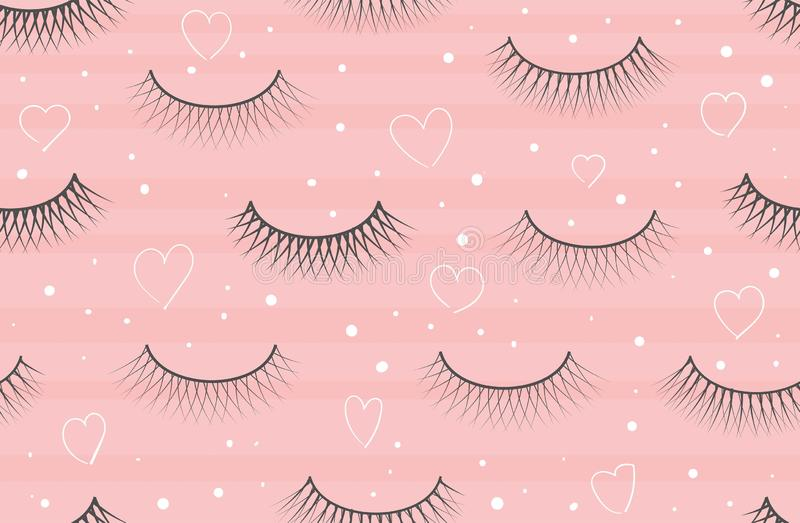 Seamless pattern false eyelash. Background for the beauty salon. Decorative cosmetics and makeup. Closed eye. Eyelashes royalty free illustration