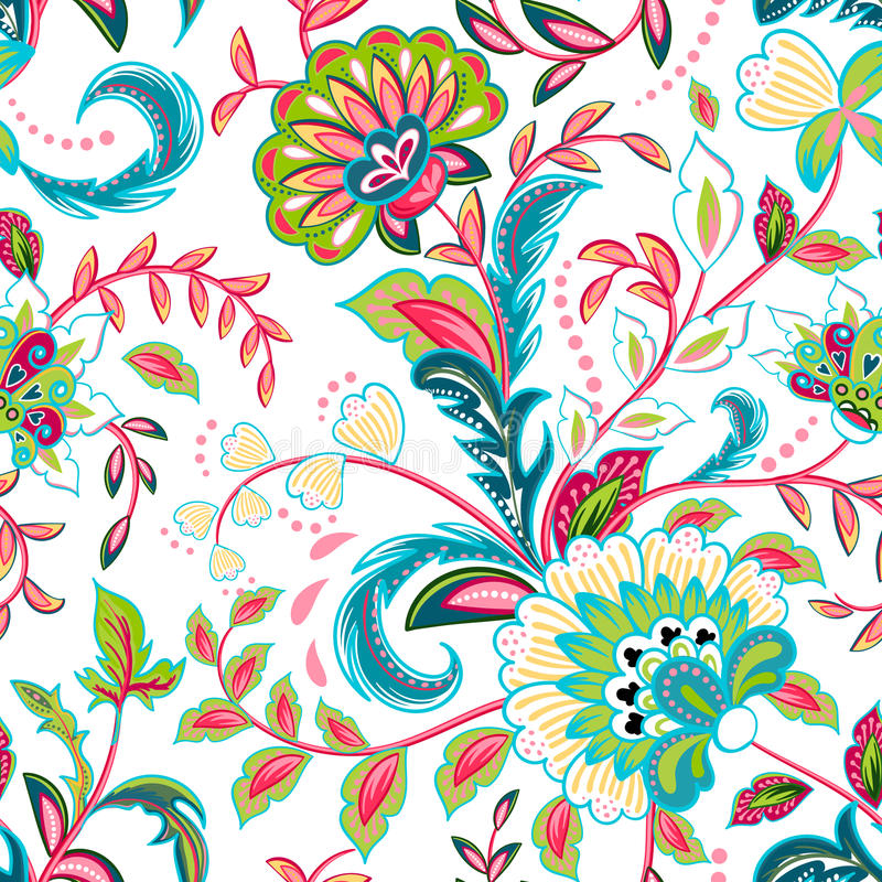 Seamless pattern with fantasy flowers, natural wallpaper, floral decoration curl illustration. Paisley print hand drawn stock illustration