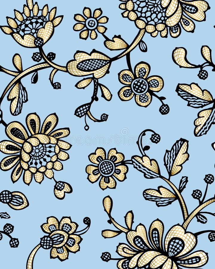 Seamless pattern with fantasy flowers. Vector abstract seamless floral pattern. Lase pattern. Template can be used for wallpaper, royalty free stock photography