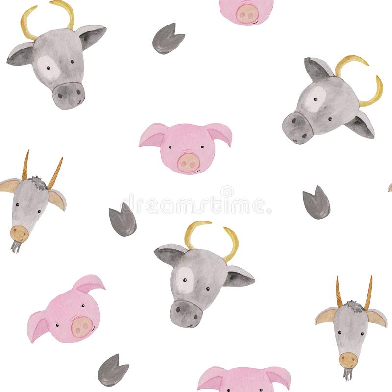 Seamless pattern with farm animals - pig, cows and goats .. watercolor illustrations for prints, design, textiles. Seamless pattern with farm animals - pig, cows royalty free stock photography