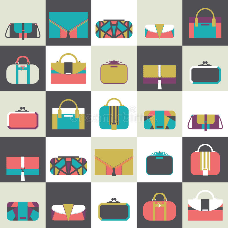 Seamless pattern with fashion bags and clutches in various shapes and sizes. Geometric illustration, based on dark and whit vector illustration