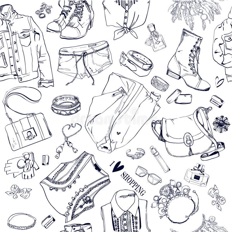Seamless pattern with fashion goods. Shopping background stock illustration