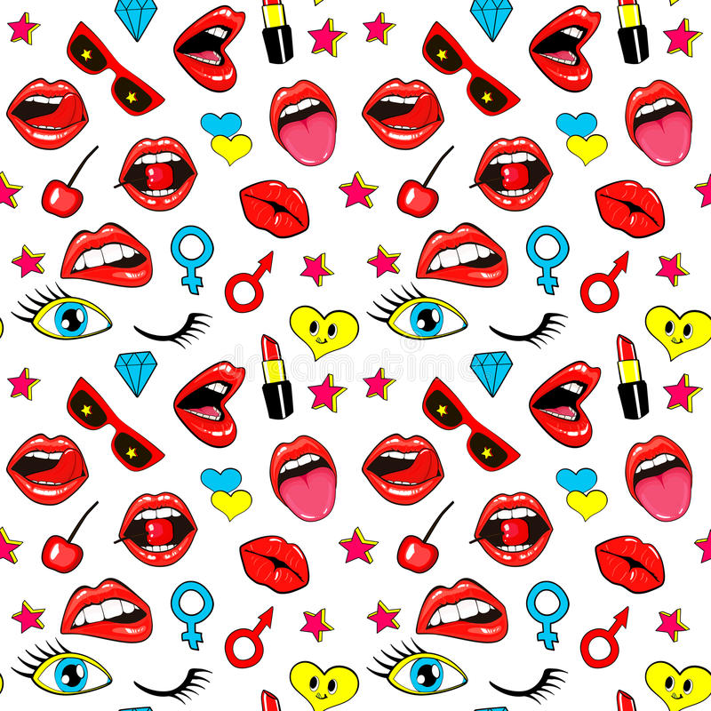 Seamless pattern with fashion patch badges with lips. Kissing, open mouth, hearts, tongue, stars. Vector background with stickers, pins, patches in cartoon 80s stock illustration