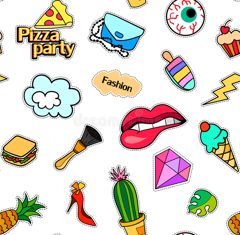 Seamless pattern with fashion patch badges. Pop art. Vector background stickers, pins, patches in cartoon 80s-90s comic. Seamless pattern with fashion patch stock illustration
