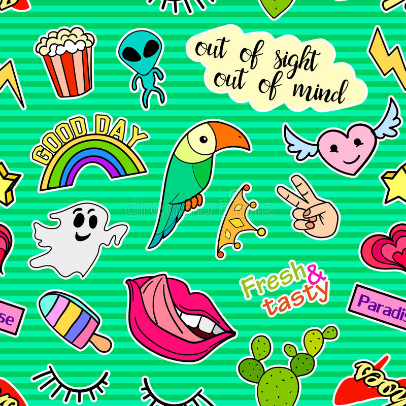 Seamless pattern with fashion patch badges. Pop art. Vector background stickers, pins, patches in cartoon 80s-90s comic. Seamless pattern with fashion patch vector illustration