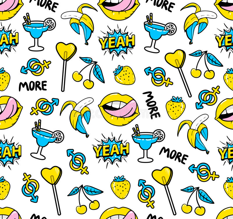 Seamless pattern with fashion patch badges royalty free illustration