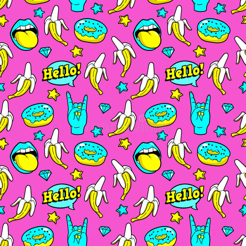 Seamless pattern with fashion patches. Seamless pattern with bananas, speech bubbles, donuts, stars and diamonds.Vector background with stickers, pins, patches stock illustration