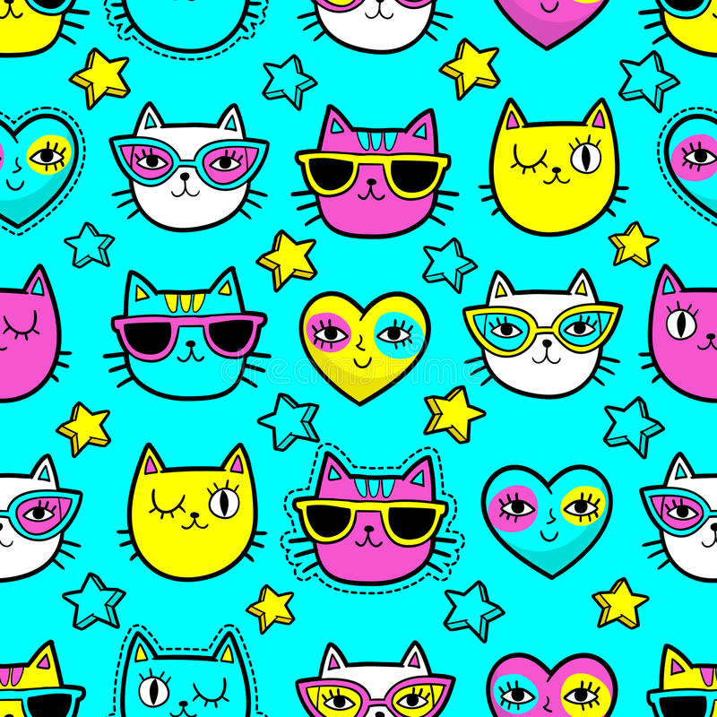 Seamless pattern with fashion patches. Seamless pattern with fashion patch badges with cats, hearts and stars.Vector background with stickers, pins, patches in stock illustration