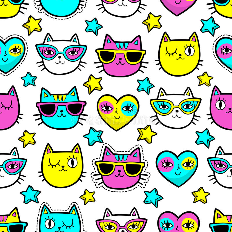 Seamless pattern with fashion patches. Seamless pattern with fashion patch badges with cats, hearts and stars.Vector background with stickers, pins, patches in royalty free illustration