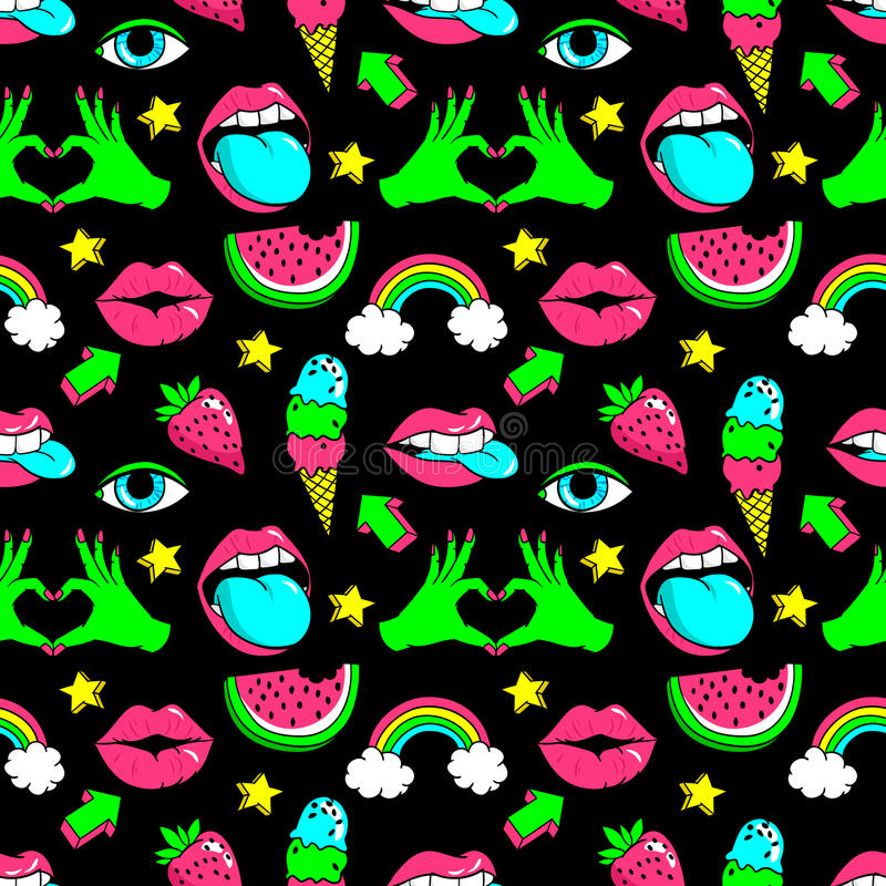 Seamless pattern with fashion patches. Seamless pattern with fashion patch badges with rainbow,watermelon, lips and other elements.Vector background with vector illustration