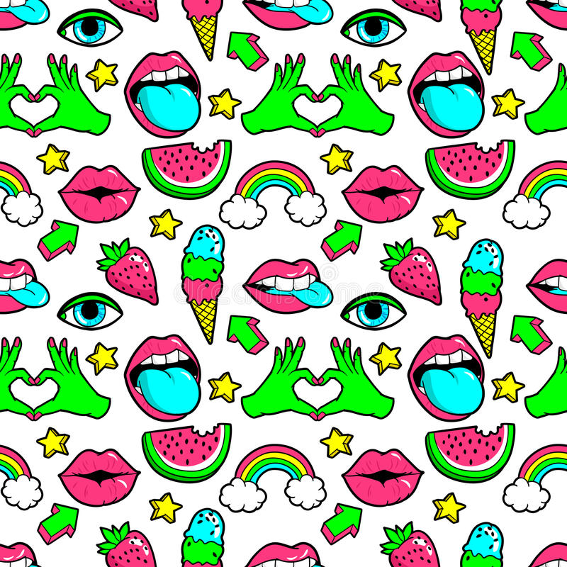 Seamless pattern with fashion patches. Seamless pattern with fashion patch badges with rainbow,watermelon, lips and other elements.Vector background with royalty free illustration