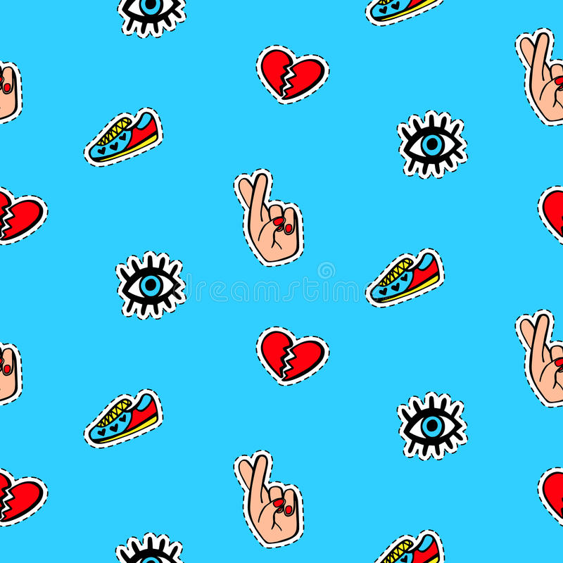 Seamless pattern with fashionable patch badges set, on blue background stock illustration