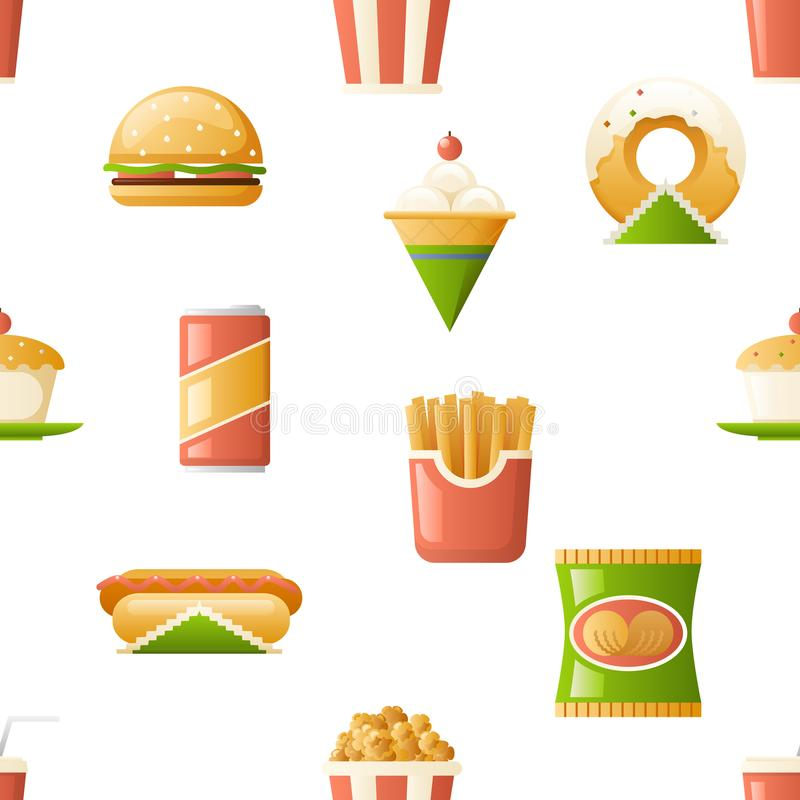 Seamless pattern fast food icons symbols isolated flat design template vector illustration. Seamless pattern fast food symbols icons isolated flat design royalty free illustration