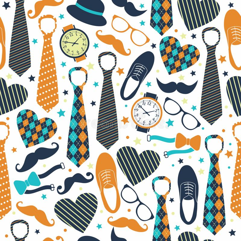 Seamless pattern of Fathers day. Flat set icons on white background. vector illustration