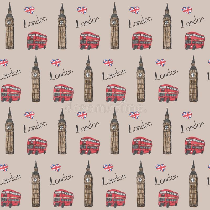 Seamless pattern `Favorite London`. With the image of BigBen, a red double-decker bus and the flag of England. Vector illustration. Seamless pattern `Favorite stock illustration