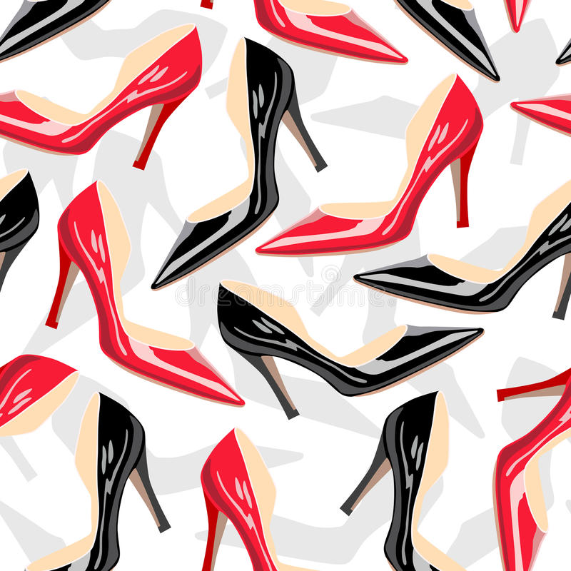 Seamless pattern with female shoes stock illustration