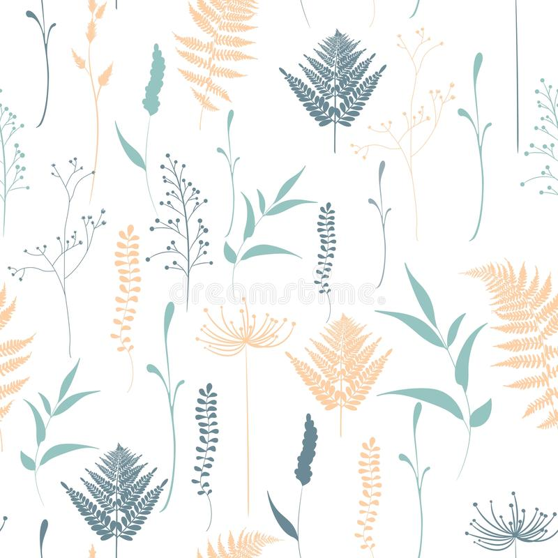 Seamless pattern of fern, different tree, foliage natural branches, green leaves, herbs. Seamless pattern of fern, different tree, foliage natural branches vector illustration