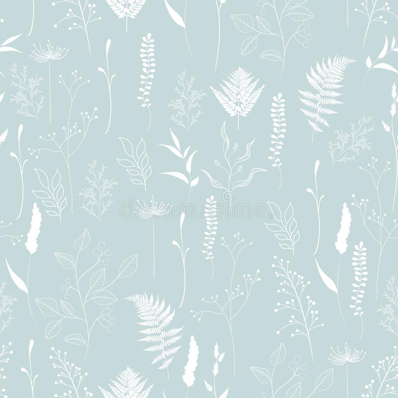 Seamless pattern of fern, different tree, foliage natural branches, green leaves, herbs. White silhouette on blue background vector illustration