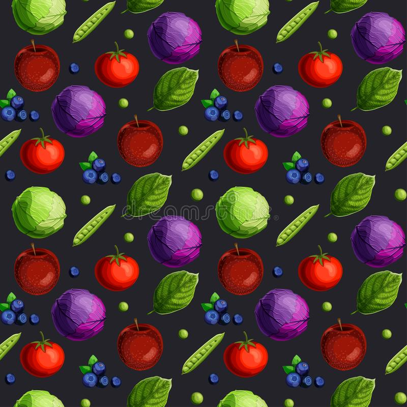 Seamless pattern with fesh vegetables, fruits, berries and green leaves on black background. vector illustration