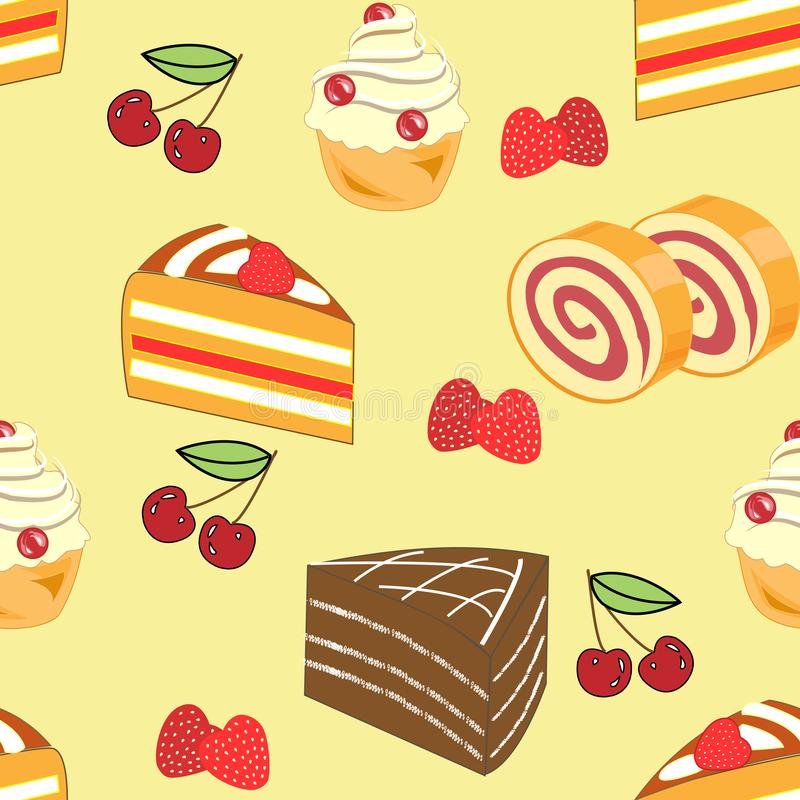 Seamless pattern. Festive cakes, marshmallows, croissants, strawberry candies, cherries. Suitable for wallpaper in the kitchen. Creates a festive mood. Vector stock illustration