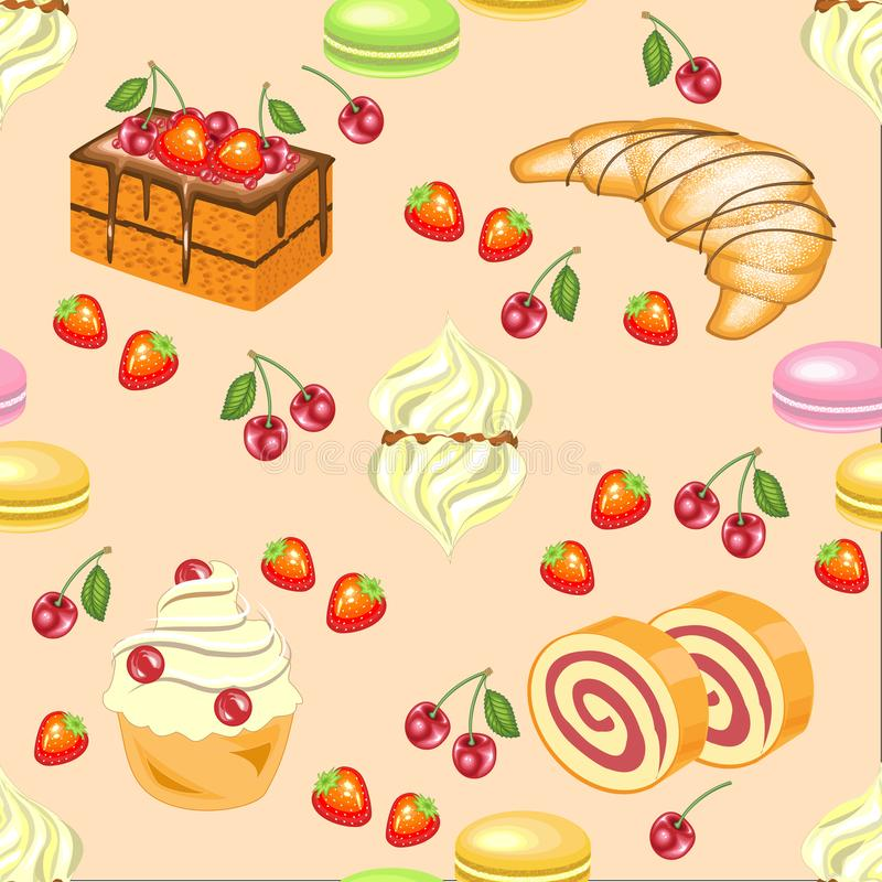 Seamless pattern. Festive cakes, marshmallows, croissants, strawberry candies, cherries. Suitable for wallpaper in the kitchen. Creates a festive mood. Vector vector illustration