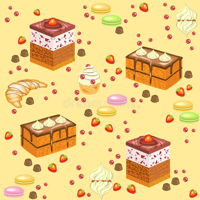 Seamless pattern. Festive cakes, marshmallows, croissants, strawberry candies, cherries. Suitable for wallpaper in the kitchen. Creates a festive mood. Vector royalty free illustration