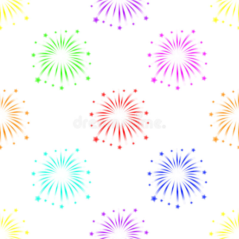 Seamless pattern with fireworks on white background.  stock illustration