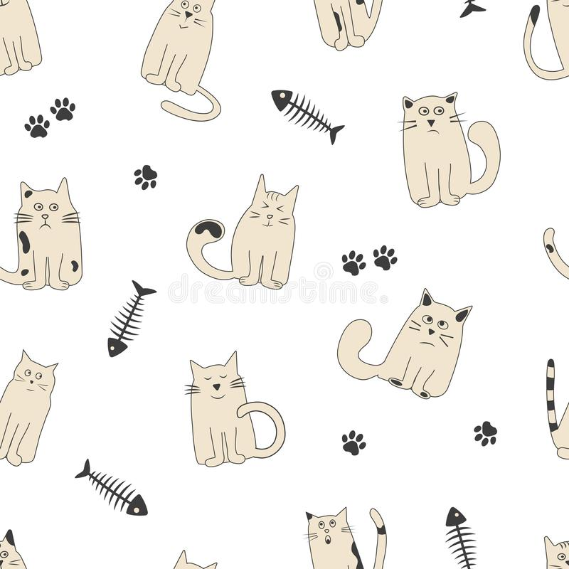 Seamless pattern with fish bone, paw track and cute cats with different emotions. Vector. Illustration vector illustration