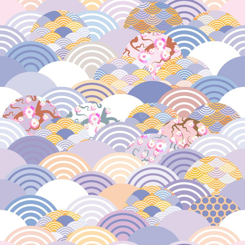 Seamless pattern fish scales simple Nature background with japanese sakura flower, rosy pink Cherry, wave circle violet purple cob vector illustration