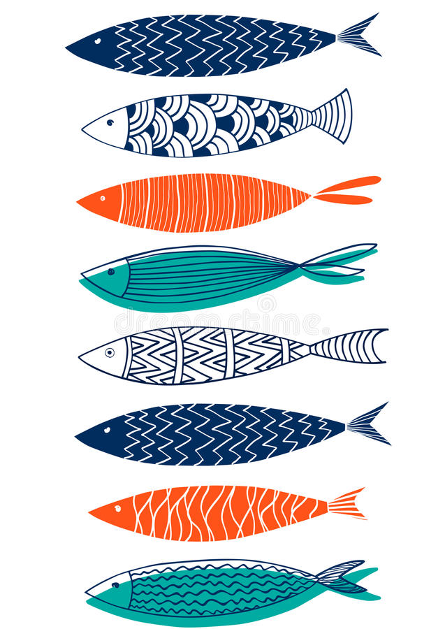 Seamless pattern of fish in the style of doodle vector illustration