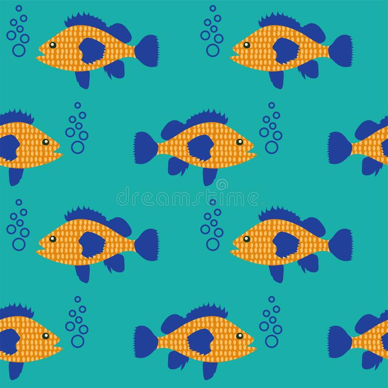 Seamless pattern with fish swimming in the sea vector illustration