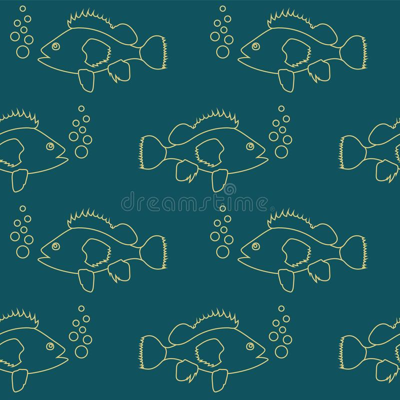 Seamless pattern with fish swimming in the sea royalty free illustration
