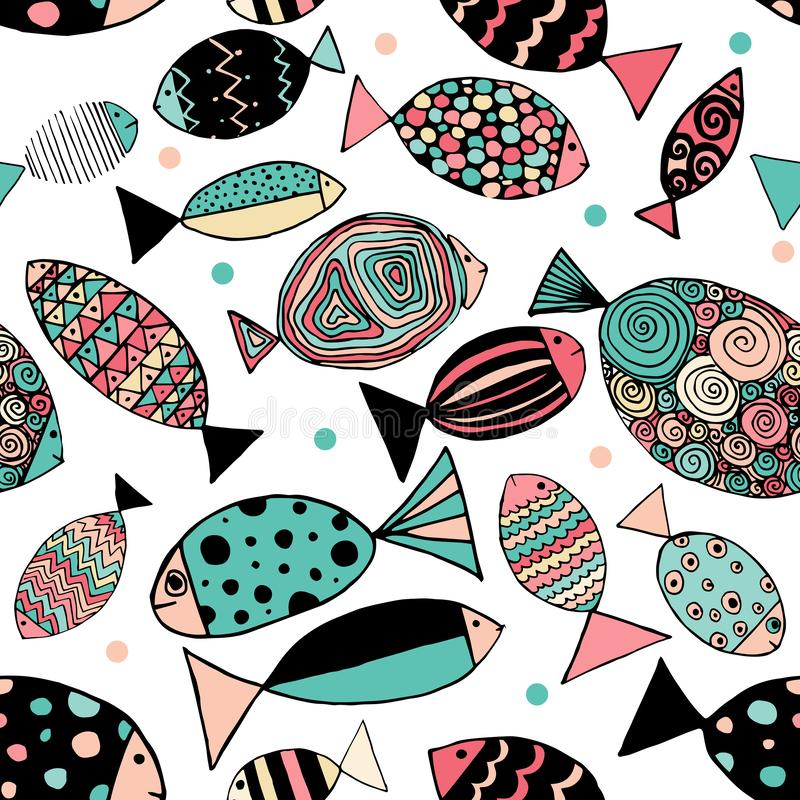 Seamless pattern with fishes. Funny fish outline art vector illustration