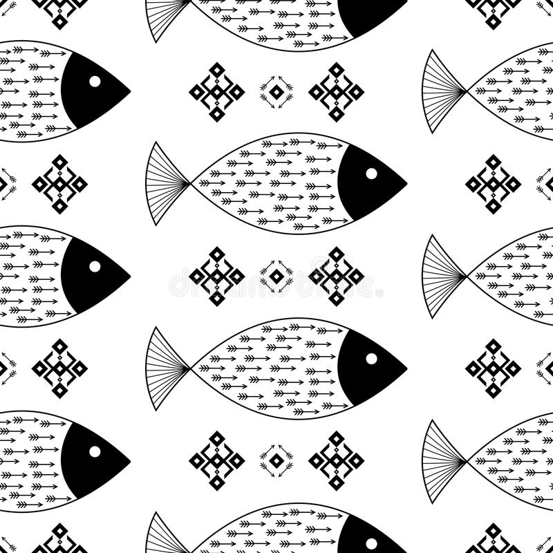 Seamless pattern fishes with Indian Native American arrows and geometric ethnic ornaments black and white vector background vector illustration