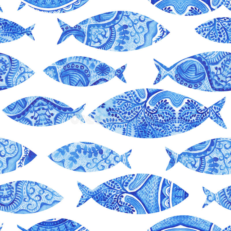 seamless pattern with fishes, watercolor hand painted background stock illustration