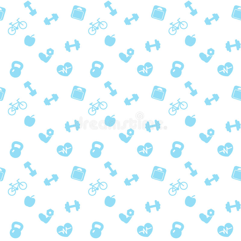Seamless pattern fitness blue icons royalty free illustration